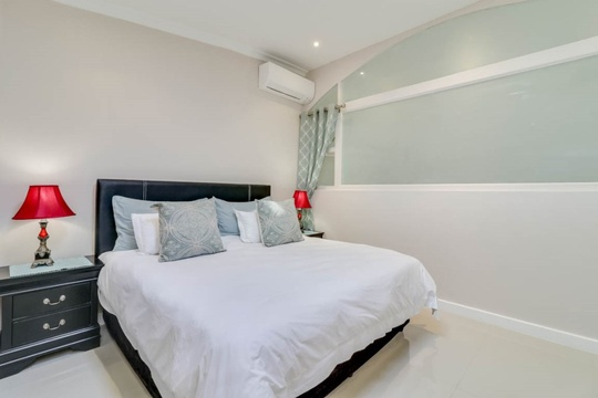 The master bedroom offers a air-conditioner that cools or heats.
